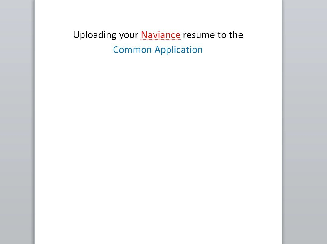 upload naviance resume to common application