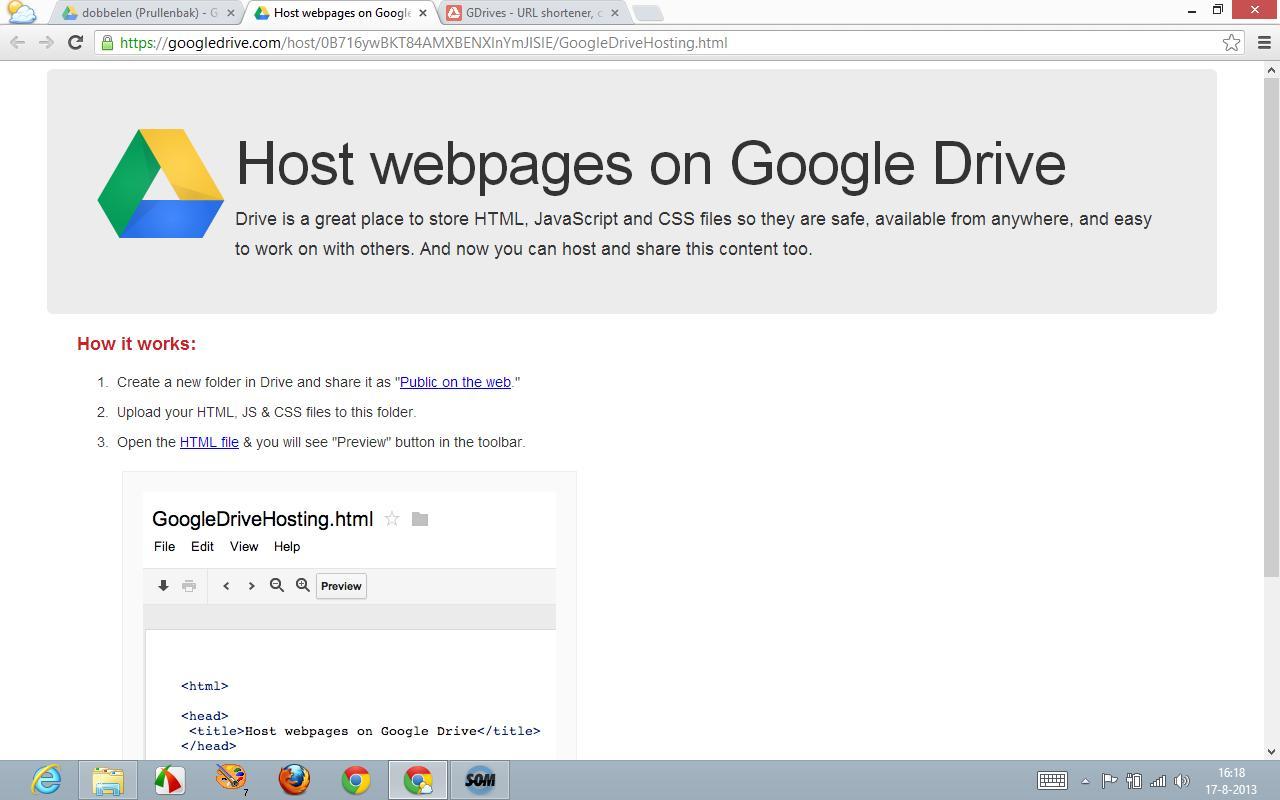 [Screencast: Websites hosten bij Google Drive]