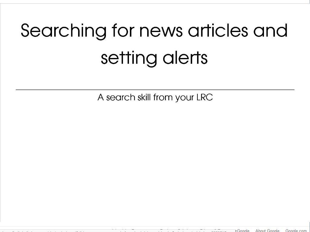 [Screencast: News articles and alerts]