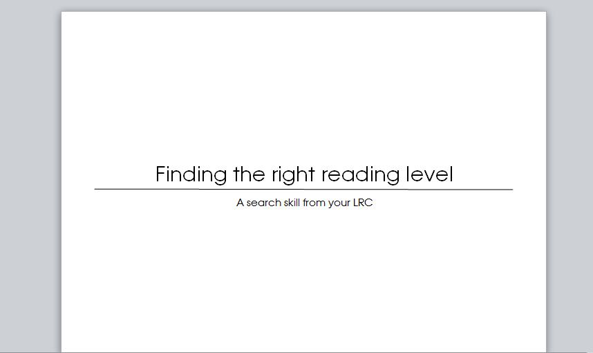 [Screencast: Finding the right reading level 2]
