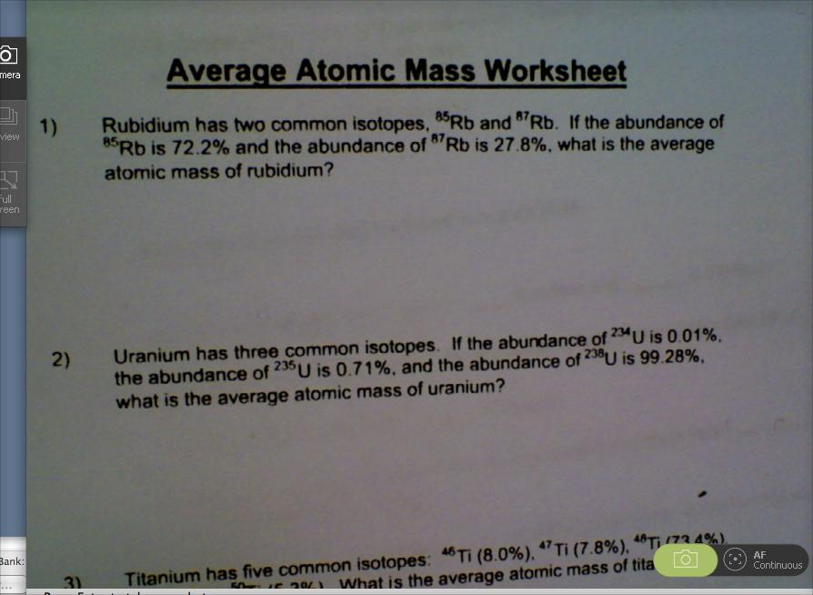 Average Atomic Mass Worksheet