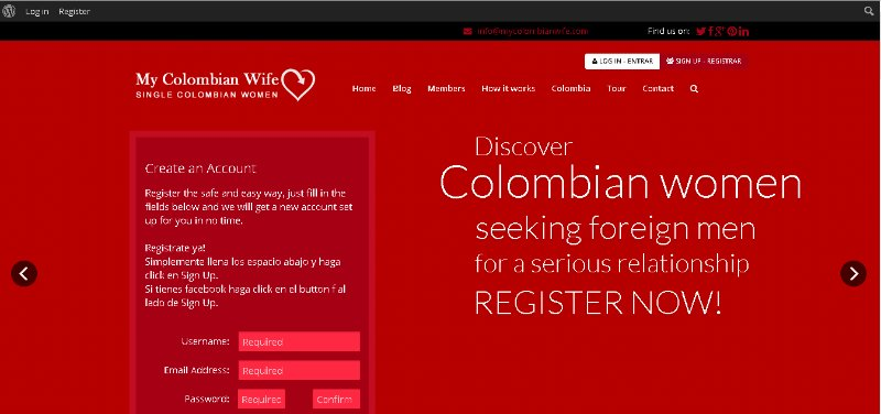 [Screencast: mycolombianwife.com Log in]
