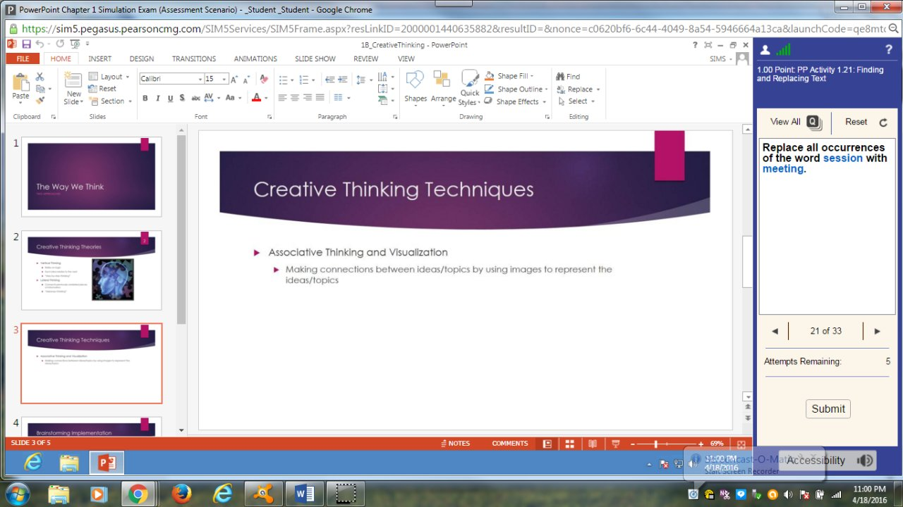 COMP 1000 - POWERPOINT Chapter 1 Simulation Exam Video 4