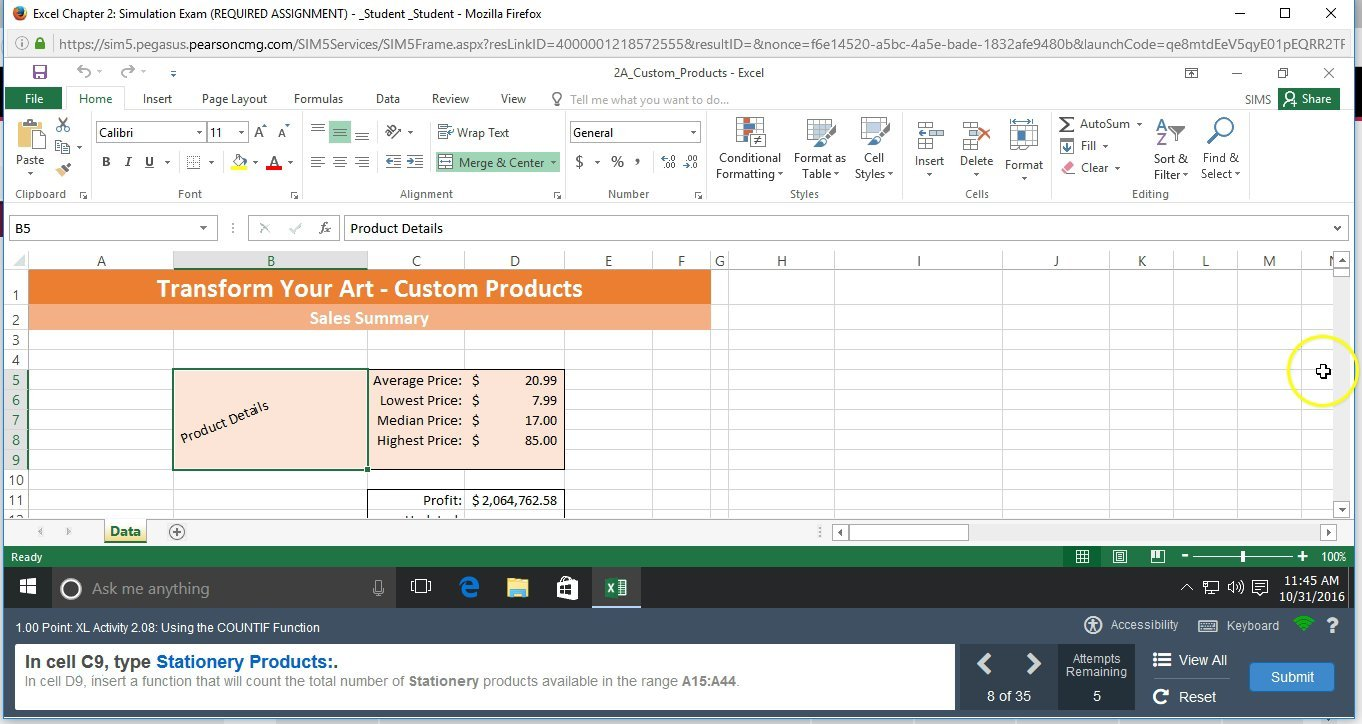 EXCEL 2016 Chapter 2 Simulation Exam Video 2 Steps 08 through 15