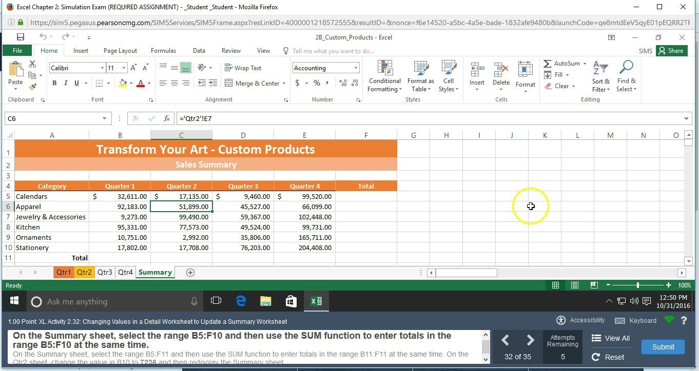Excel 2016 Chapter 2 Simulation Exam Video 5 Steps 32 To 35