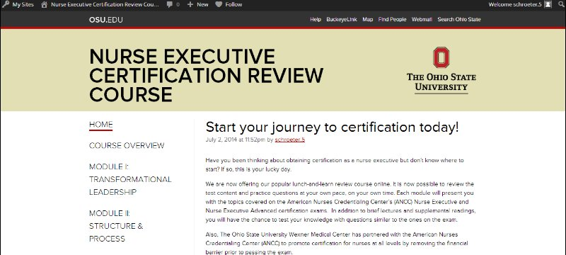 nurse executive certification review course