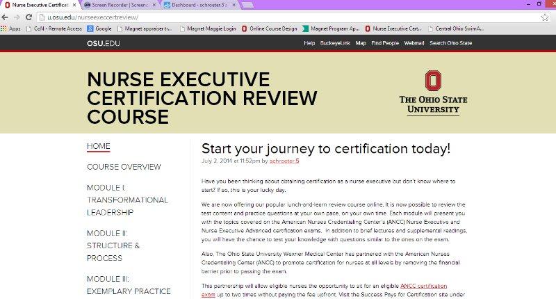 Course Tours | Nurse Executive Certification Review Course