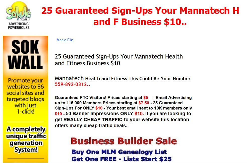 Mannatech health and fitness leads | Chuck Reynolds Leads