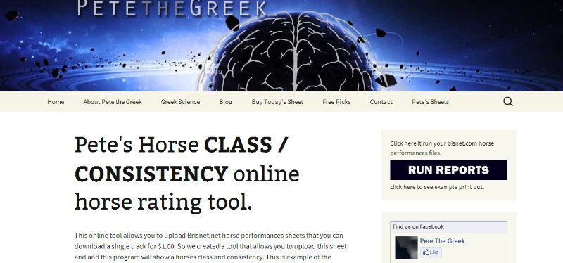 [Screencast: How to use Pete's online Class / Consistency horse racing tool]