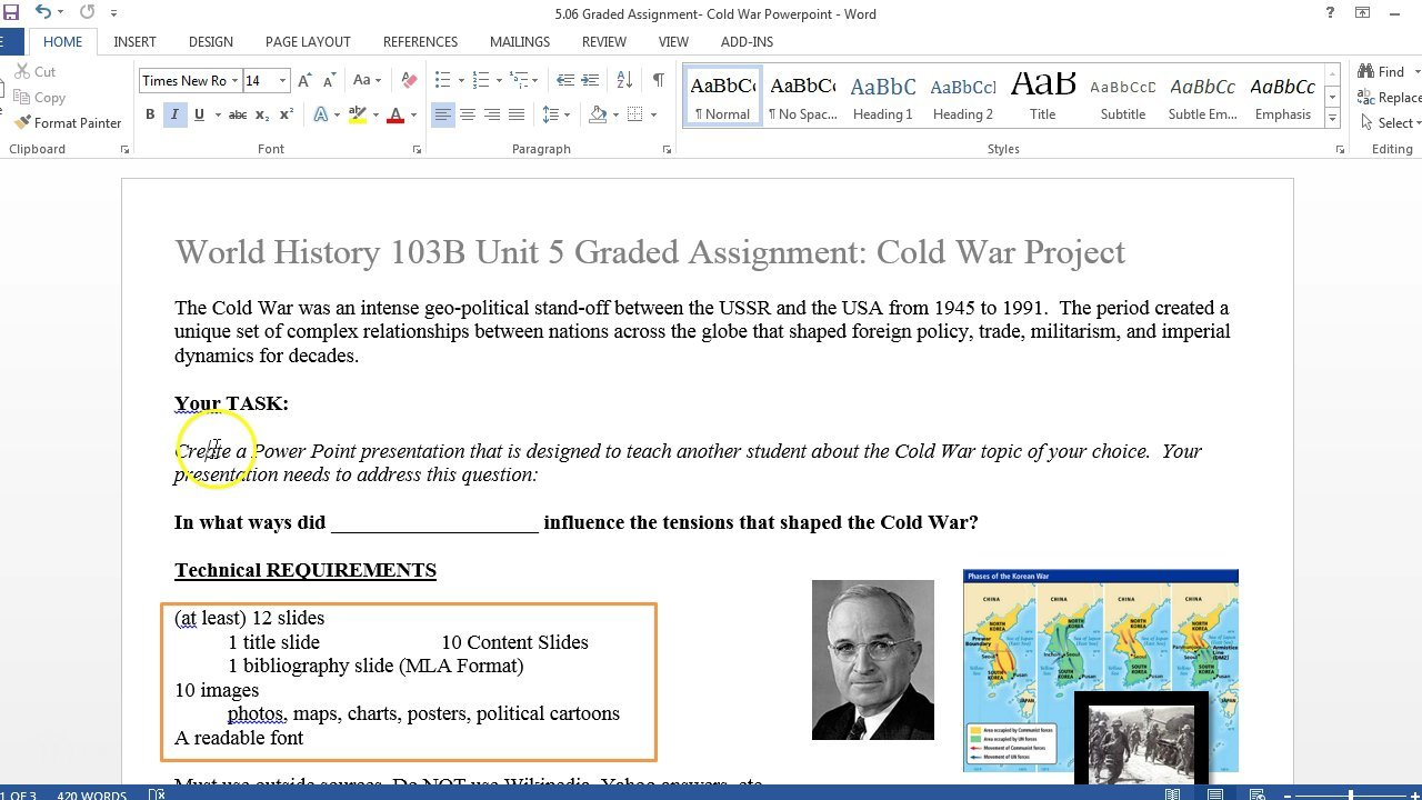Cold war assignment