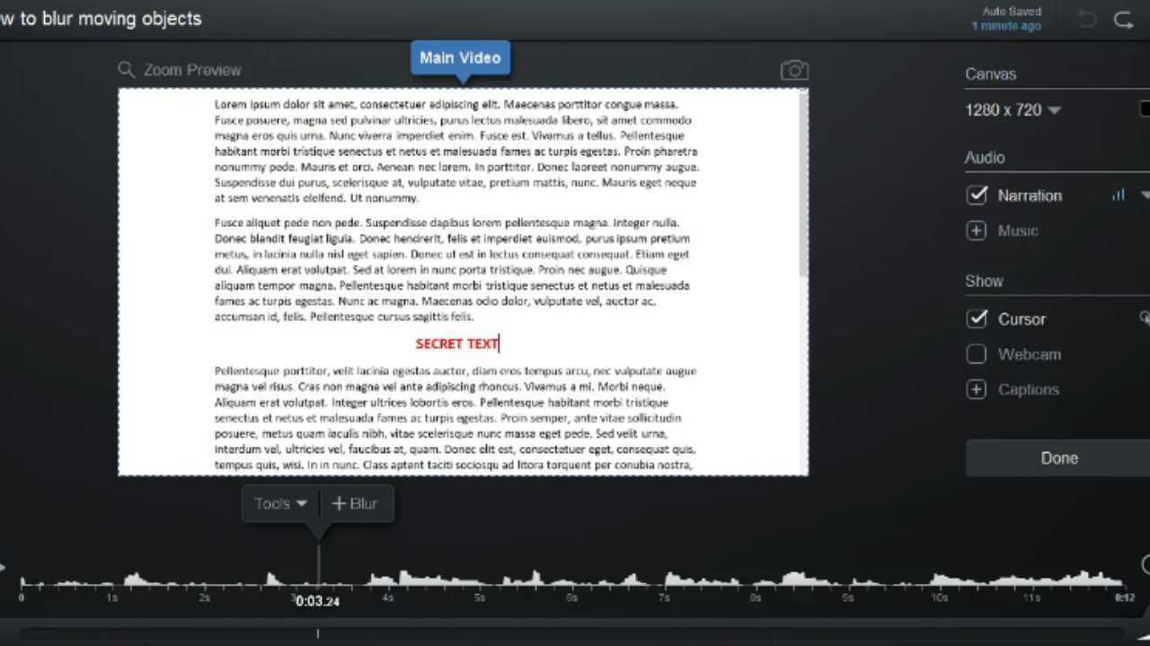 Blur Moving Objects – Screencast-O-Matic / Support