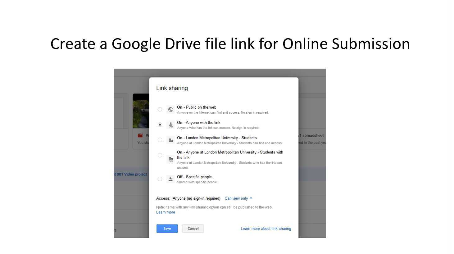 Drive File Link For Online Submission