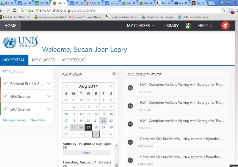 Using Google Calendar to keep track of homework