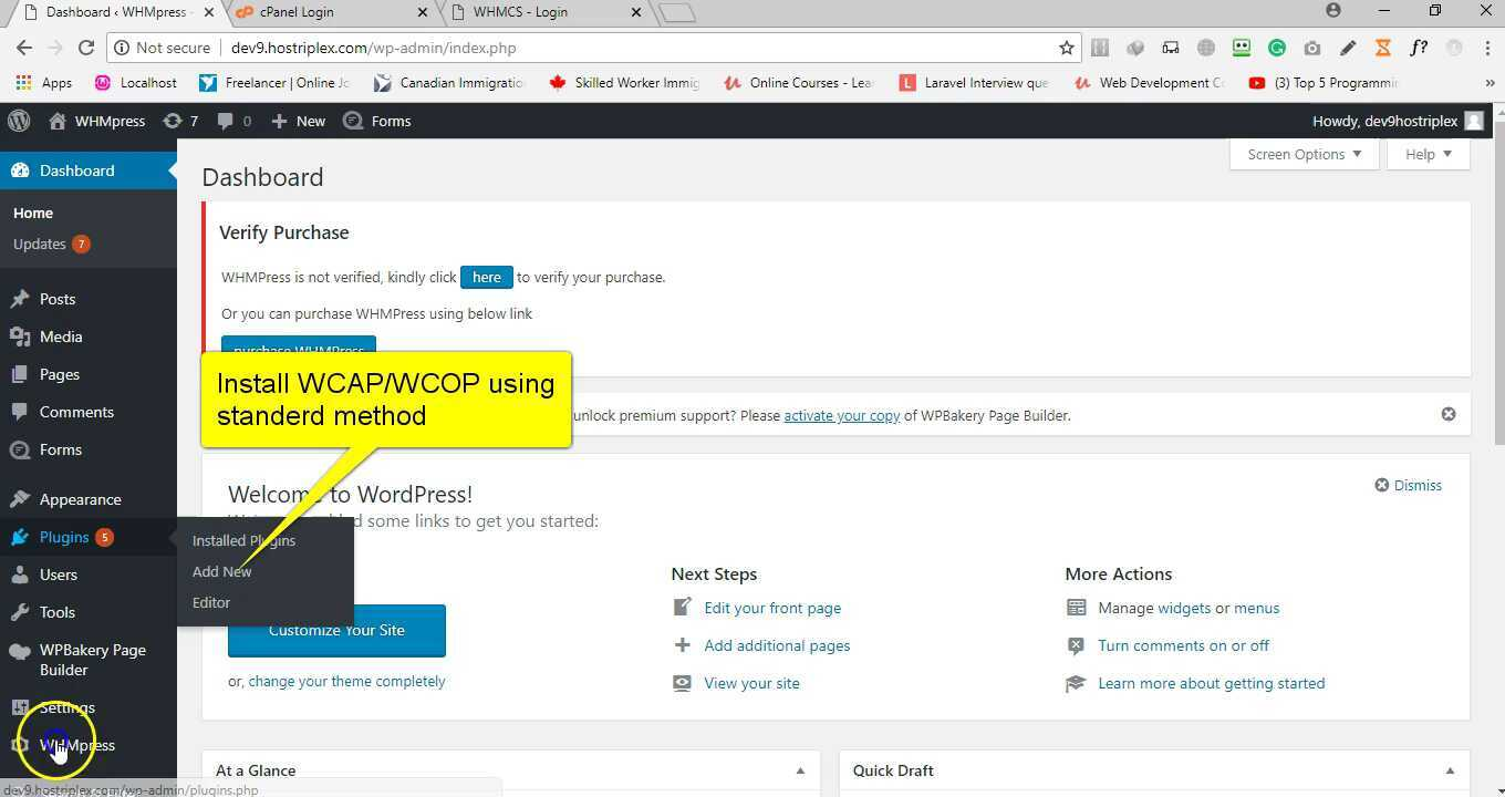 Whmcs client area addons
