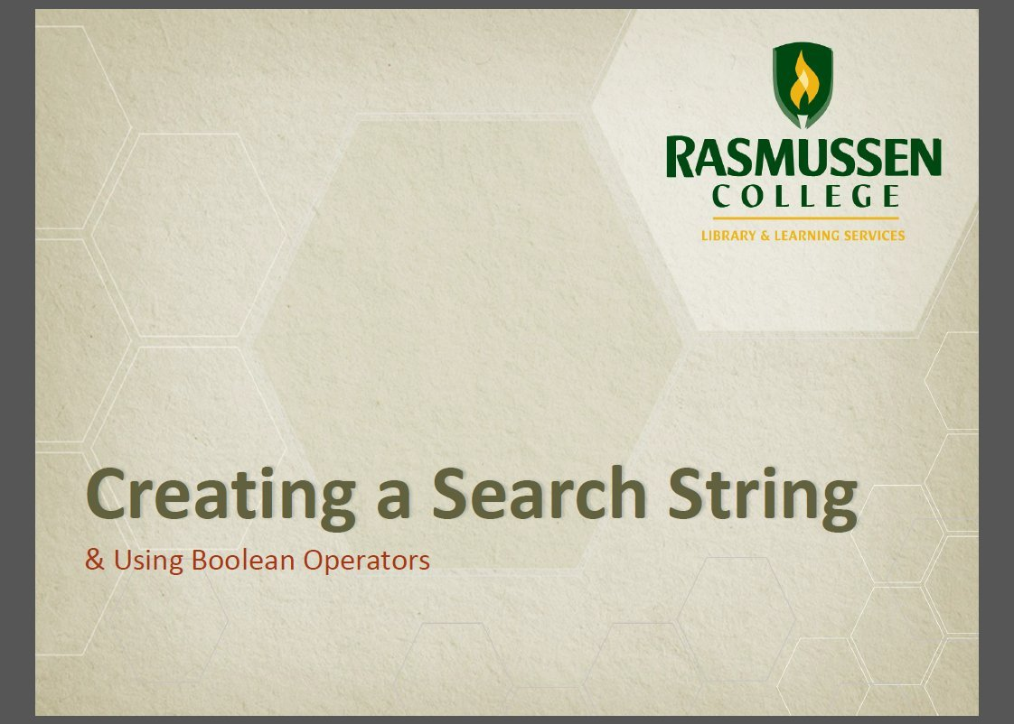 [Screencast: Creating a Search String]