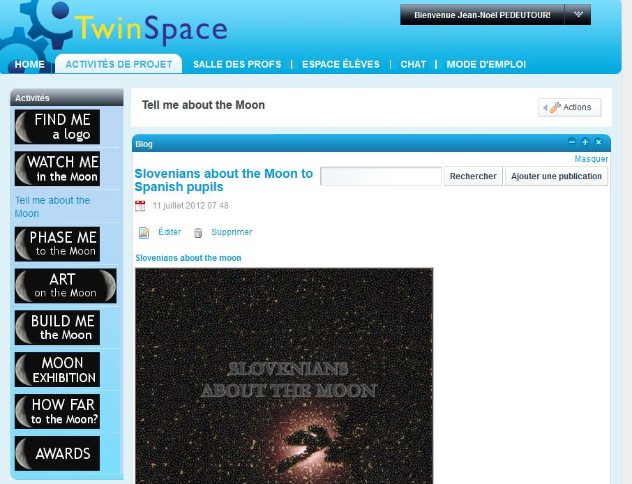 [Screencast: Menu twinspace]
